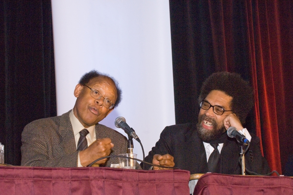 James Cone and Cornel West laugh it up.