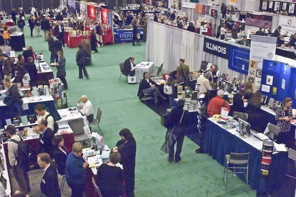 A busy exhibit hall.