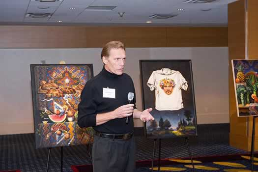 Atlanta artist Guy Robinson shows his work and speaks about the religious imagery of his art.