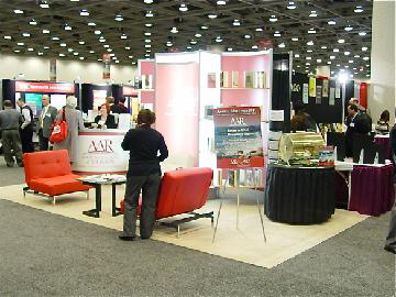The AAR booth in the Exhibit Hall provides a place to relax and to showcase AAR's new programs.